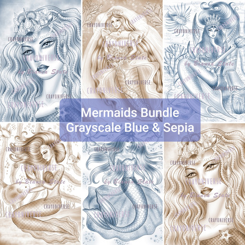Mermaids Grayscale Bundle Blue and Sepia