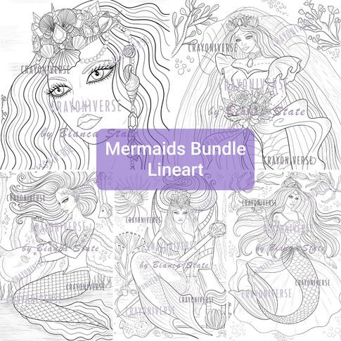 Mermaids Lineart Bundle