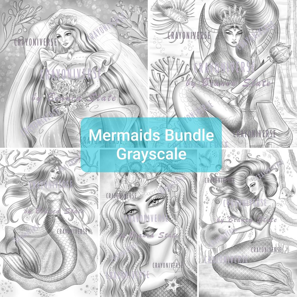 Mermaids Grayscale Bundle