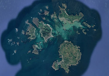 An aerial image of the Isles of Scilly