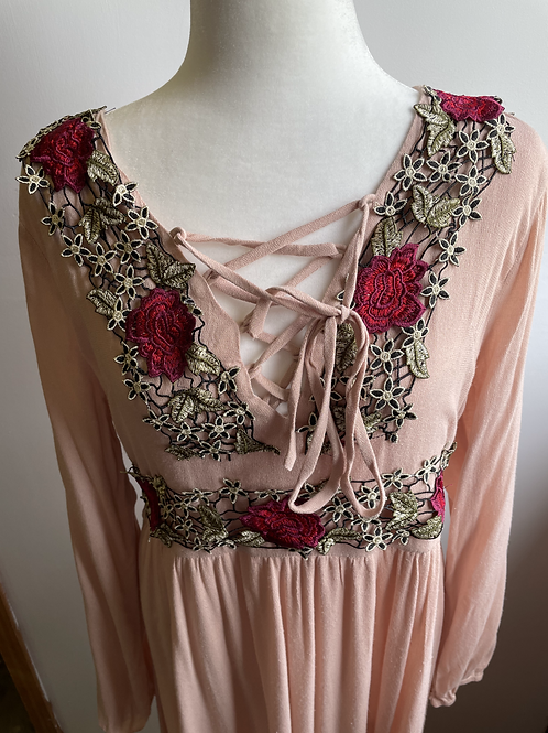 IJOAH Blush Maxi Dress with Floral Design