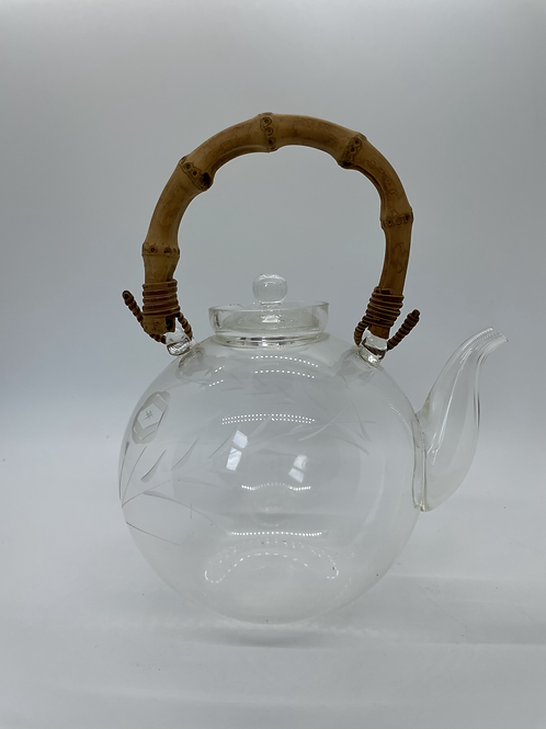 Vintage Hand Blown Teapot with Bamboo Handle