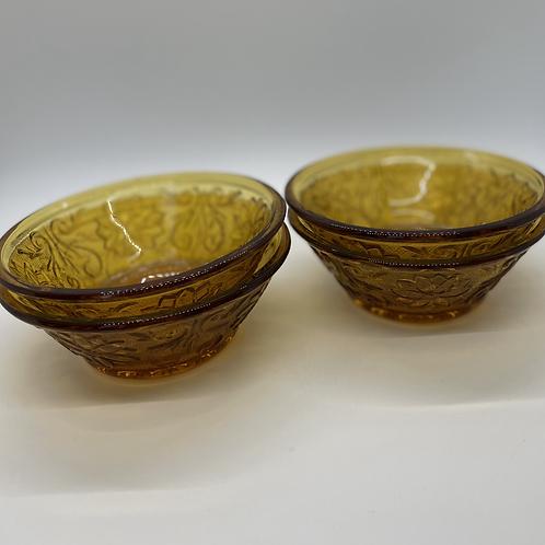 Vintage Amber Fruit/Dessert Bowls Set of 4