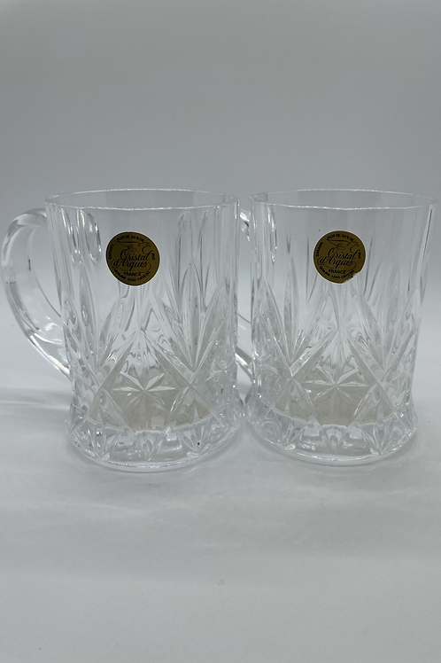 2 Cristal d'Arques Chantilly Taille Beaugency Paneled Cut Crystal Mugs