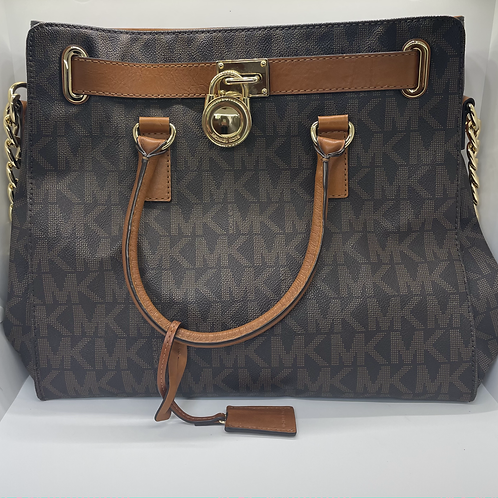 Michael Kors Hamilton Satchel Gold Chain Monogram Brown Leather Bag Lock Charm