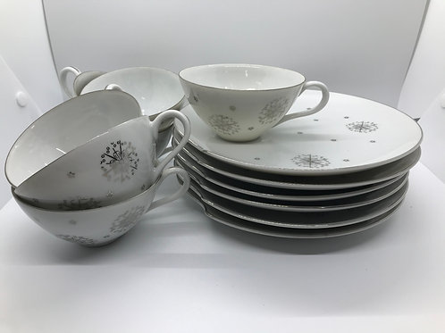 Mid Century Modern Coffee & Cake Plates  (Set of 6 plus extra cup)