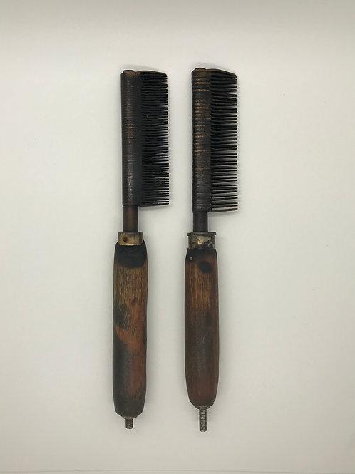2 Vintage Brass Hot Combs