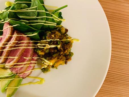 鴨肉のレンズ豆サラダ