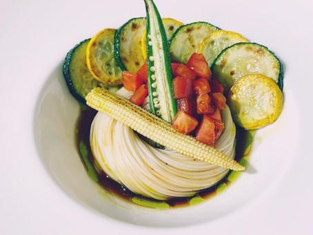 夏野菜とオリーブオイルそうめん