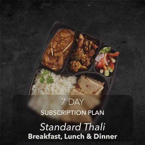 7 day - Standard Thali - All three meals