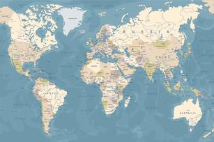 Web Be Bold World Map Blue Mural Sample.