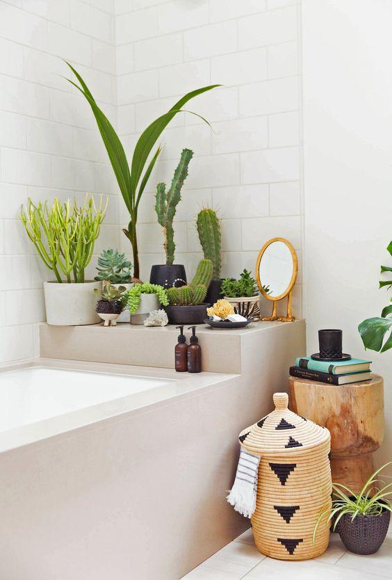 Decoração com plantas no banheiro