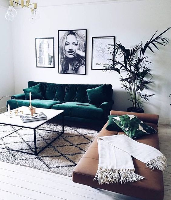 Sofá e almofadas em veludo para decorar a sala