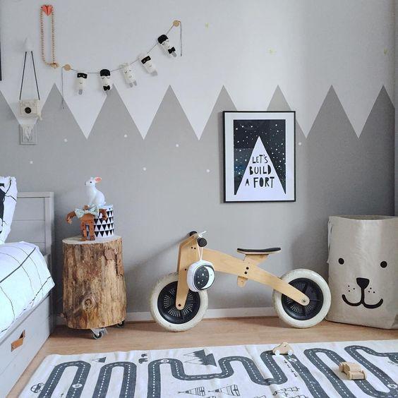 Pintura de parede pela metade de quarto infantil
