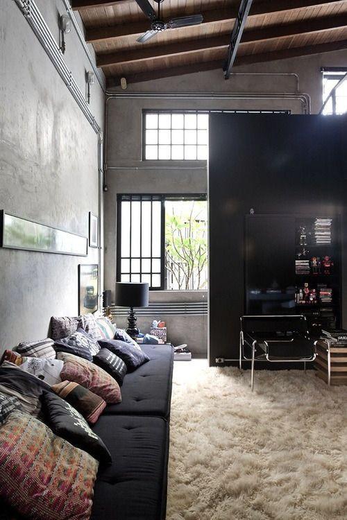 Sala no estilo industrial