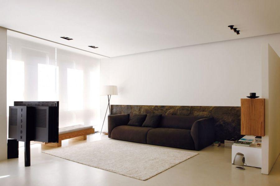 Sala de estar com decoração minimalista