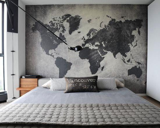 Cabeceira de cama em papel de parede