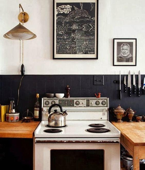 Parede de cozinha com revestimento de tinta lavável