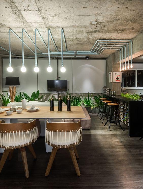 Sala com estilo industrial e moderno