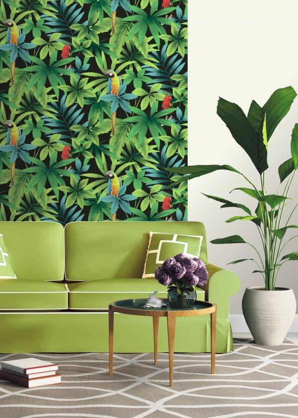 Sala com papel de parede natureza