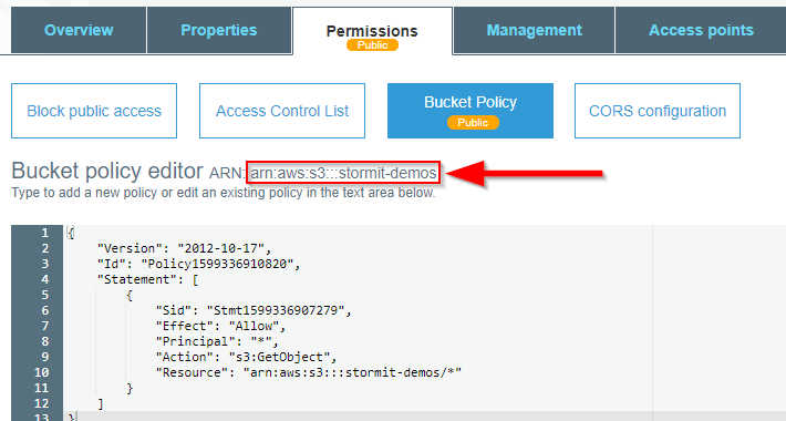 AWS management console - bucket policy editor