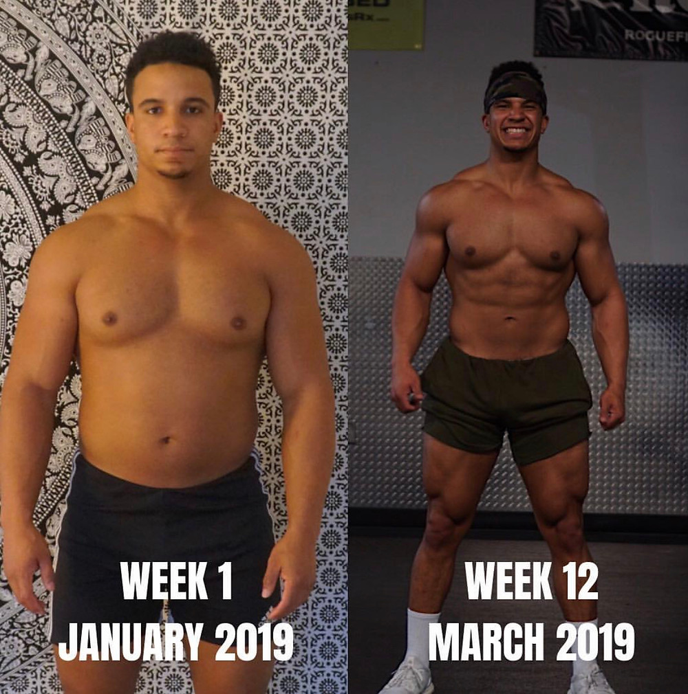 male losing fat and building muscle transforming over 12 weeks