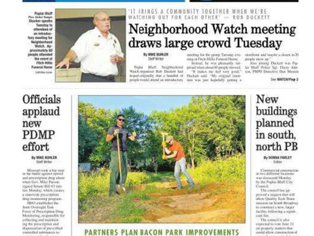 PBTC on the Cover of Daily American Republic for Bacon Park Improvements Project
