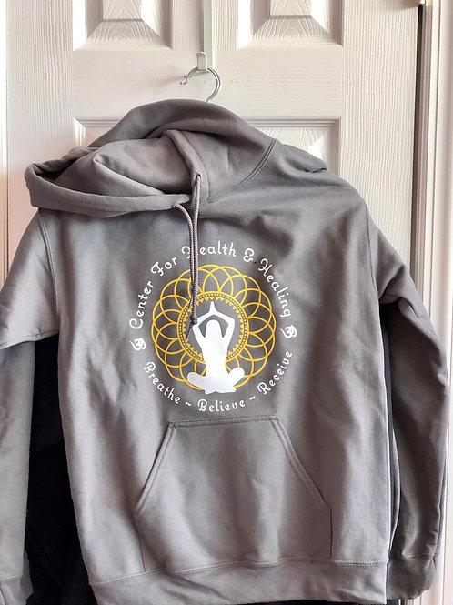 gray centers logo hoodie