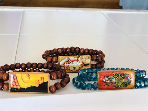 Tile bracelets with wood or beads $18 each