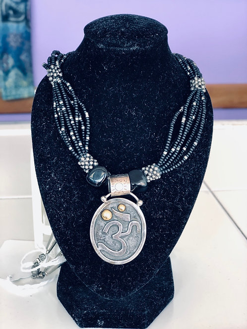 black beaded om necklace with magnet clasp