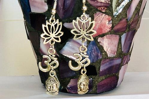 Sale earrings $20 lotus flower- OM- Buddha head