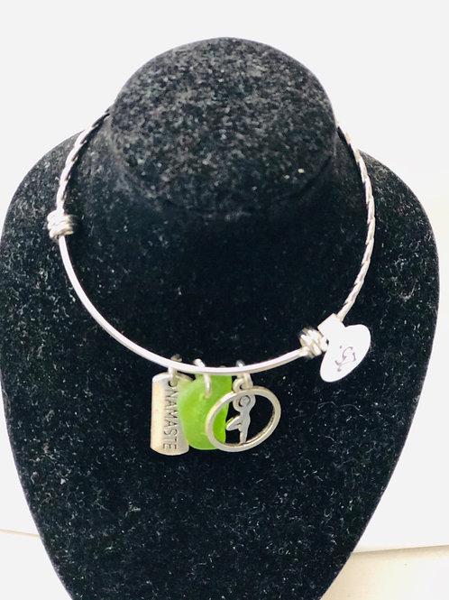 Silver Namaste & sea glass  metal bracelet on sale for $20