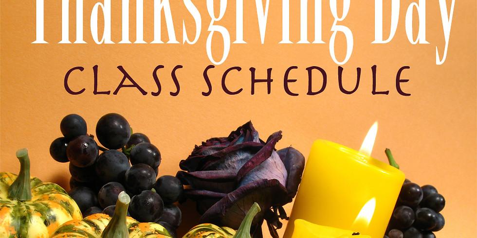 11/28 Thanksgiving day 2 yoga classes