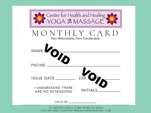 Monthly Class Card