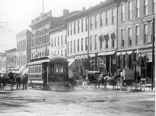 Postcard Tr, Trolley in Downtown Bellefontaine -LCHS Reproduction