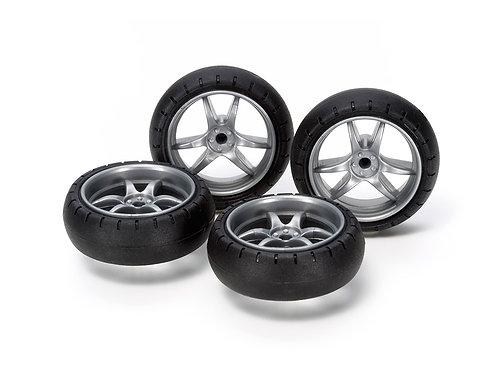 large diameter V spoked narrow wheel (with barrel tire)