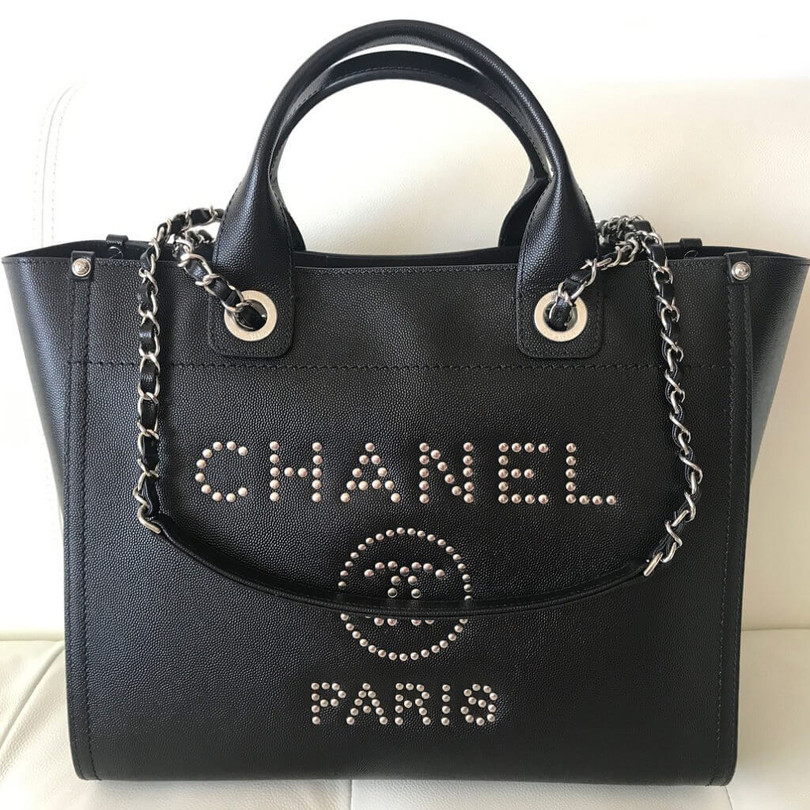 Chanel-Deauville-Studded-Logo-Tote-Bag-1