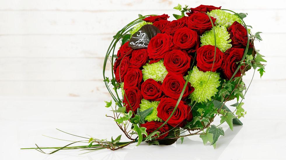 Trauerherz mit Standfuß rote Rosen