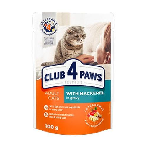 CLUB 4 PAWS Premium для взрослых кошек С макрелью в соусе
