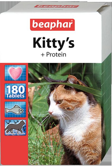 Кормовая добавка Kitty's + Protein с протеином для кошек 180 таб.