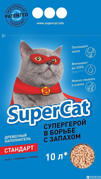 Наполнитель для кошачьего туалета SuperCat Древесный впитывающий