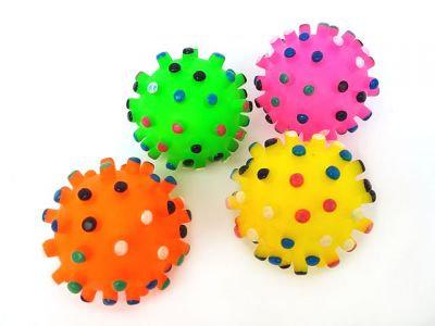Мяч винил с пищалкой (пупырчатый), 7cm, разные цвета