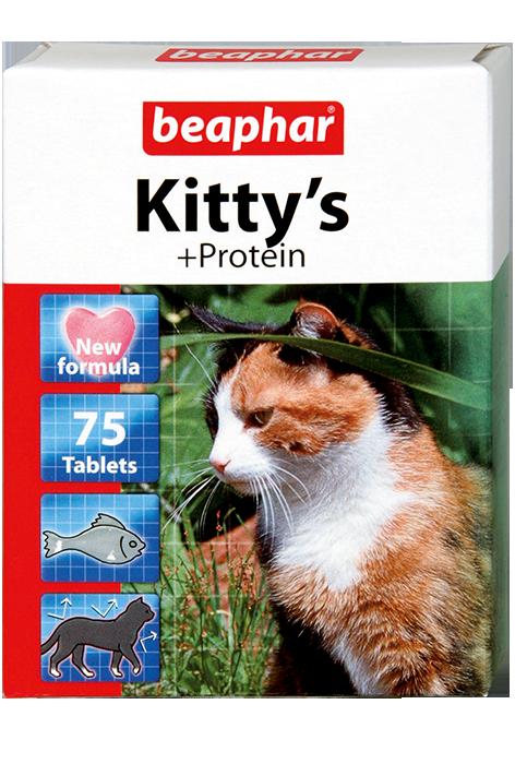 Кормовая добавка Kitty's + Protein с протеином для кошек 75 таб.