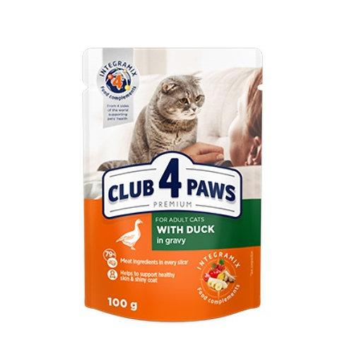CLUB 4 PAWS Premium для взрослых кошек С уткой в соусе