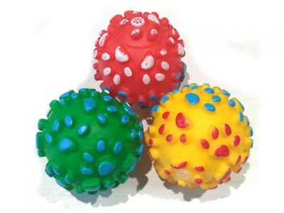 Мяч винил с пищалкой, 6.5cm, разные цвета