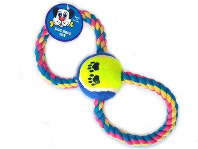 """Веревочная игрушка """"Восьмерка"""", 6cm * 25см,  с одним мячом, 134 г"""