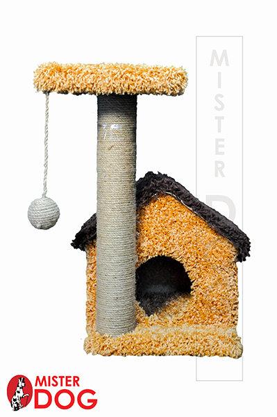 Игровой комплекс для кошек с домиком и площадкой, высота 60 см