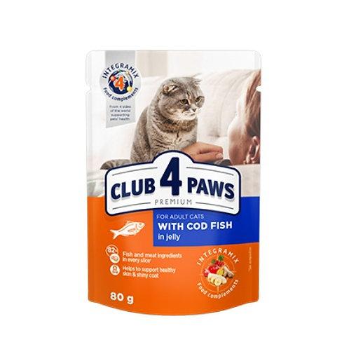 CLUB 4 PAWS Premium  для взрослых кошек С треской в желе
