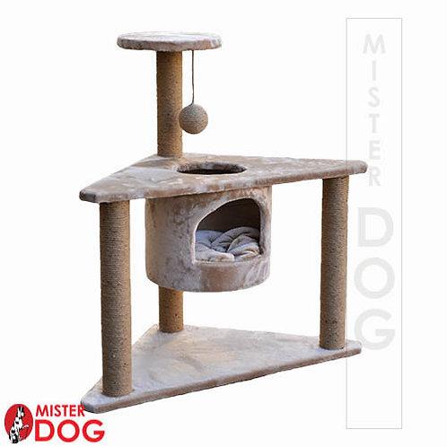 Когтеточка для кошек угловая, с тремя столбиками и домиком, 85см