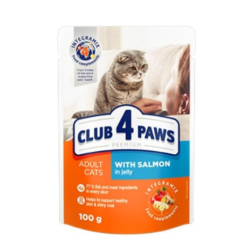 CLUB 4 PAWS Premium для взрослых кошек С лососем в желе